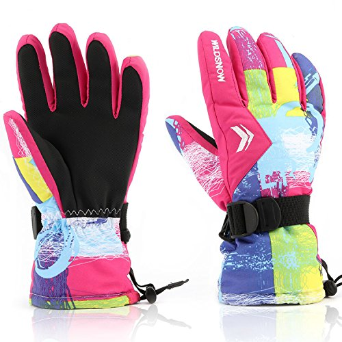 Ladies Snowboarding (Ski Gloves,RunRRIn Winter Warmest Waterproof and Breathable Snow Gloves for Mens,Womens,ladies and Kids Skiing,Snowboarding(Rose Red-L))