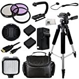 62MM 12 Piece Accessory Kit for Panasonic Lumix DMC-FZ1000 4K Digital Camera Includes 3 Piece Filter Kit, 2 Extended Life Replacement Batteries, 57'' Tripod, LED Video Light, Stabilizing Handle + MORE