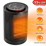 COMLIFE Ceramic Space Heater, 1200W Portable Electric Heater Fan with Adjustable Thermostat, ETL Listed Indoor Personal Heater with Auto Oscillation,Tip-Over&Overheat Protection for Office Home Dorm