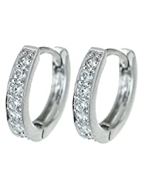 Dreambell Rhodium On 925 Sterling Silver Cz Crystal Ring Huggie Hoop Earwire Earrings