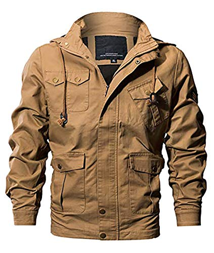 MAGE MALE Men's Cotton Military Jackets Casual Outdoor Windbreaker Coat Multi-Pocket Cargo Jacket with Removable Hood