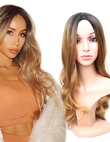 Fani Wig Long Wavy Ombre Wigs Dark Roots Brown Body Wave Middle Part Heat Resistant Synthetic Full Wig Cosplay Wigs with Free Wig Cap for Women