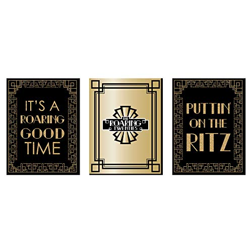 Roaring 20's - 1920s Wall Art, Room Decor and Art Deco Jazz Themed Room Home Decorations - 7.5 x 10 inches - Set of 3 Prints -