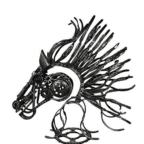 5tyle Furniture Scrap Metal Art Sculpture Horse Head Horse Shoe Indoor Outdoor Decor