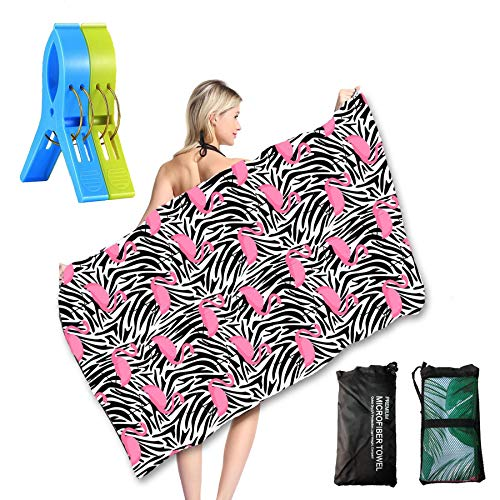Microfiber Beach Towel, Oversized Extra Large Big Outdoor Travel Blanket - Portable Quick Fast Dry Sand Free Proof for Girls/Women/Kids 3061 inch(Pink Flamingo -
