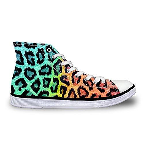 För U Designar Snygga Leopardmönster Kvinna Hög Topp Spets Duk Mode Sneaker Green 1