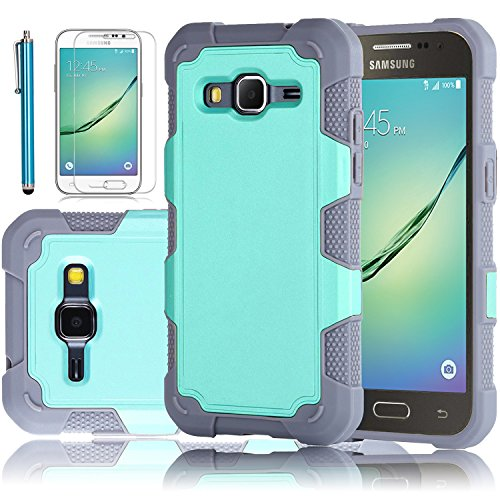 Galaxy Core Prime Case, EC™ Galaxy Prevail LTE Case, Dual Layer Rugged Soft TPU Bumper Hard PC Shell Shockproof Case Cover for Samsung Galaxy Core Prime / Prevail LTE G360 (G-Mint/Grey)