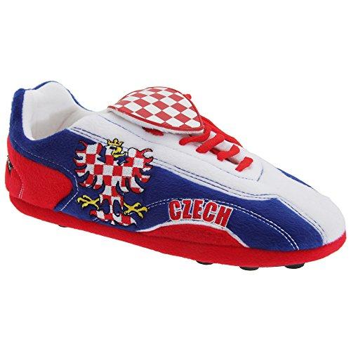 Sloffie Heren Tsjechische Republiek Pluche Voetbalschoen Pantoffels Wit / Blauw / Rood