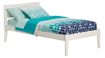 Amazon Com Orlando Bed With Open Foot Rail Twin White Kitchen