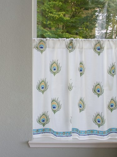Saffron Marigold – Dance O Peacock – Turquoise, Gold, and Green Nature Inspired Hand Printed – Sheer Cotton Voile Kitchen Curtain Panel – Rod Pocket – (46 x 24)