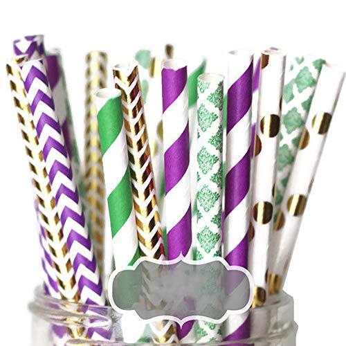 Designer Durable Disposable Drinking Paper Straws (25) - Mardi -
