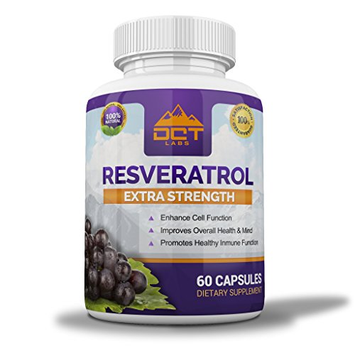DCT Labs Resveratrol - Extra Strength 1000mg Per Serving - 30 Day Supply - 60 Capsules - Trans-Resveratrol for Life Extension, Maximum Anti Aging, Immune & Heart Health