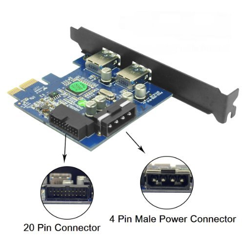 Anker® Uspeed PCI-E to USB 3.0 2 Port Express Card, with 1 USB 3.0 20-pin Connector and 5V 4 Pin Male Power Connector by Anker (Image #3)
