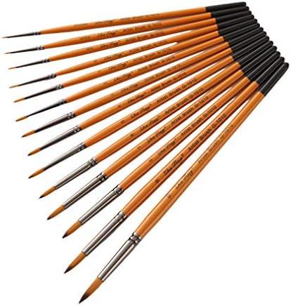 BEE&BLUE 画材筆 ペイント ブラシ アクリル筆 水彩筆 油絵筆 画筆 丸筆 平型筆 平型円頭筆 短毛筆 模型 14本セッ