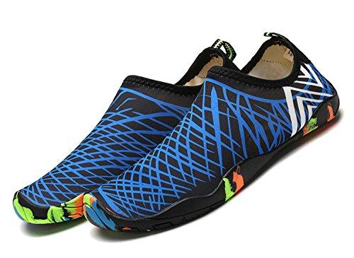 Herren Blau Damen Trocknend Schwimmschuhe Breathable Unisex ECOTISH Schuhe Slip Wasserdicht Barfuß Neoprenschuhe On Schnell Aquaschuhe Wasserschuhe Badeschuhe für Strandschuhe xF7wUCqT