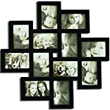 Adeco [PF0206] Decorative Black Wood Wall Hanging Collage Picture Photo Frame, 12 Openings, 4x6''