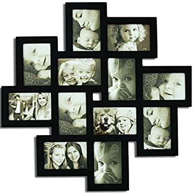 Adeco [PF0206] Decorative Black Wood Wall Hanging Collage Picture Photo Frame, 12 Openings, 4x6