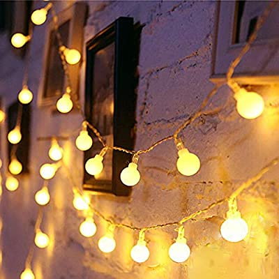 LED Globe String Lights Twinkle Lights,Plug in Fairy Lights 100 LED String Light for Indoor Outdoor Wedding Birthday Party Garden Bedroom Wall Decorations with 30V Low VoltageTransformer,Extendable - √ Good Quality& Safety-The length of this globe LED light chain is 15m long(10m String Lights, 5m Lead Wire), the distance between two light ball is 10cm, the input voltage is: 120V,The output voltage:29V, it is more safe and Energy saving when you use it √ Extension & 8 Modes- Linkable LED String Lights with Male and Female Safe Plug to fit different size Christmas trees and garlands,Strings can be connected in series, you can DIY Its length to meet your request . And this led string light has 8 modes : Combination, In Waves, Sequential, Slo-Glo, Chasing/Flash, Slow Fade, Twinkle/Flash, Steady on.It also has memory function, you can control it as you like √ Waterproof & Eco-friendly-The waterproof of our this globe string lights is IP44, You can use it in indoor or outdoor, and The globe that made of translucent plastic keeps the lights is still safe at a low temperature after long lasting.And they are more non-friable than glass globes. - patio, outdoor-lights, outdoor-decor - 51dwU3SphVL. SS400  -