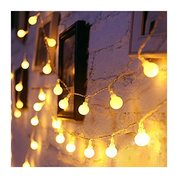 LED Globe String Lights twinkle lights ,Plug in Fairy Lights,49Ft 100 LED String Light, Waterproof, Perfect for Indoor Outdoor Wedding Birthday Party with 30V Low VoltageTransformer,Extendable - √ Good Quality& Safety-The length of this globe LED light chain is 15m long(10m String Lights, 5m Lead Wire), the distance between two light ball is 10cm, the input voltage is: 120V,The output voltage:29V, it is more safe and Energy saving when you use it √ Extension & 8 Modes- Linkable LED String Lights with Male and Female Safe Plug to fit different size Christmas trees and garlands,Strings can be connected in series, you can DIY Its length to meet your request . And this led string light has 8 modes : Combination, In Waves, Sequential, Slo-Glo, Chasing/Flash, Slow Fade, Twinkle/Flash, Steady on.It also has memory function, you can control it as you like √ Waterproof & Eco-friendly-The waterproof of our this globe string lights is IP44, You can use it in indoor or outdoor, and The globe that made of translucent plastic keeps the lights is still safe at a low temperature after long lasting.And they are more non-friable than glass globes. - patio, outdoor-lights, outdoor-decor - 51dwU3SphVL. SS570  -
