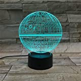LE3D 3D Optical Illusion Desk Lamp/3D Optical Illusion Night Light, 7 Color LED 3D Lamp, Star Wars 3D LED For Kids and Adults, Death Star Light Up