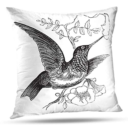 (LILYMUA Vintage Old Bird Vintage Flower Flying Animal Old Wing Nest Antique Zippered Pillow Cover,18 x 18 inch Square DecorativePillow Case Fashion Style Cushion Covers(Two Sides Print))