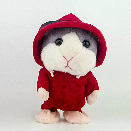 ETbotu Lovely Talking Plush Hamster Toy Record Sound Walk Doll Early Education Interest Cultivate Toy Red Coat Gray Hair ()