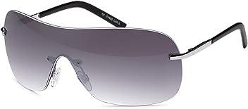 Stylische Unisex Kunststoff Sonnenbrille Randlos Monoscheibe UV 400 Filter- Im Set mit Etui