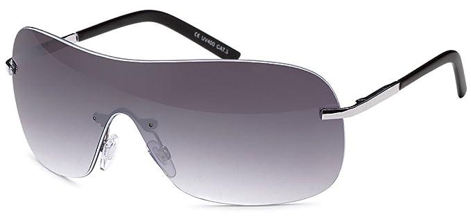 Stylische Unisex Kunststoff Sonnenbrille Randlos Monoscheibe UV 400 Filter- Im Set mit Etui (Grau Verlaufend) G8NjOawJ