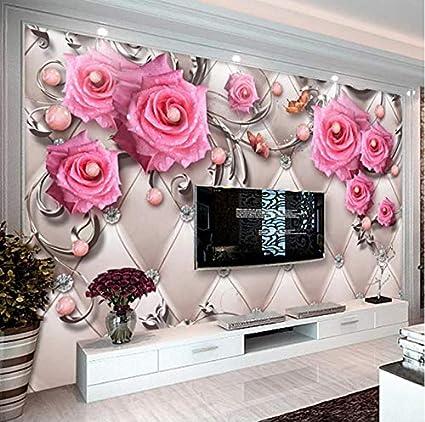Vvbihuaing 3d Murales Sfondo Parete Adesivi Decorazioni Pizzo Rosa Argento Arte Camera Da Letto Per Bambini W 250x H 175cm Amazon It Casa E Cucina