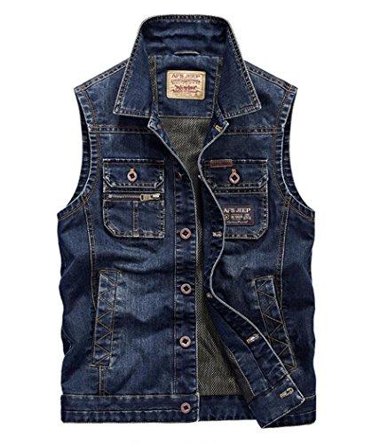Men's Slim Denim Vest with Chest Pockets Dark Blue 3XL -Asian (Pocket Jeans Chest)