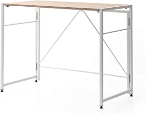 SOFSYS Modern Folding Computer Writing Desk for Small Space, Gaming, and Home Office Organization, Foldable Industrial Metal Frame with Sturdy Desktop for Students or Small Business, Oak/White