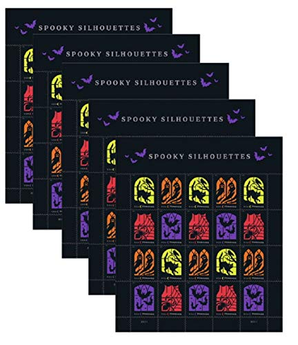 Halloween Window Silhouettes 2019 (Spooky Silhouettes Irridescent Halloween US Postage Stamps (5)