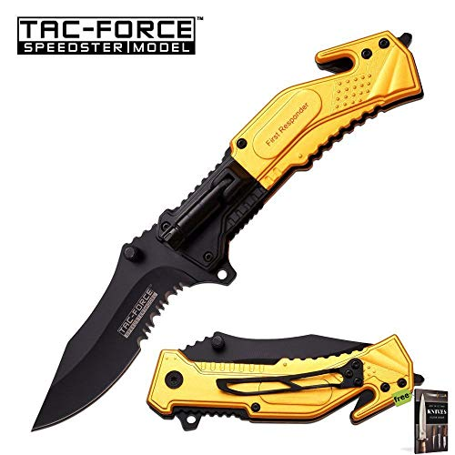 SPRING-ASSIST FOLDING POCKET KNIFE Yellow First Responder Rescue LED Light EDC Knife + Free eBook by SURVIVAL STEEL ()