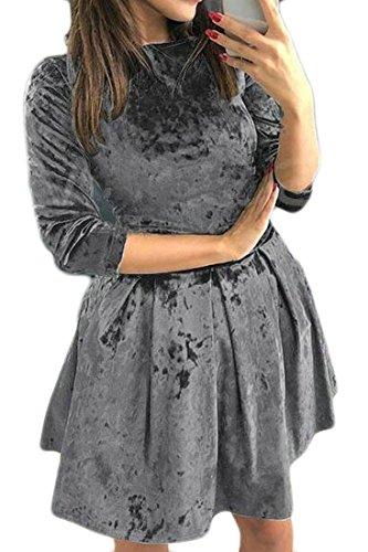 Line Dress Womens A Gold Jaycargogo Skater Long Short Sleeve Ruffle Slim Velvet Grey qHwqXpWO