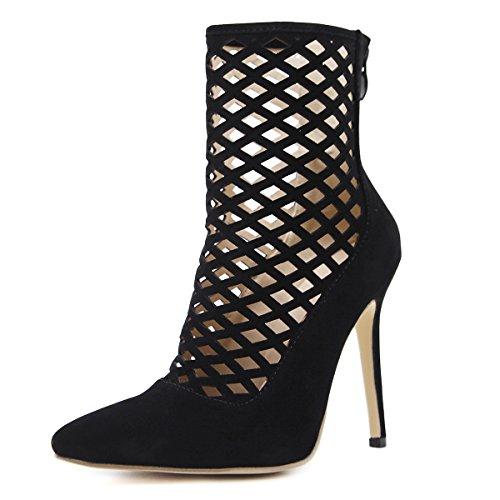 Alta Bang Gao De Señaló Solo Mujer Hollow Altura Sección Zapatos Black Romana Sandalias qOXwYxPSS