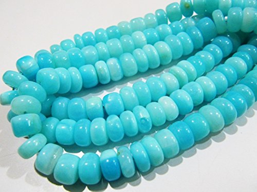 AAAA Quality Natural Blue Opal Rondelle Plain Beads 8mm Peruvian Opal Smooth Beads Strand 8 inches Rock bottom Price- Best value for money Blue Chalcedony Rondelle Beads