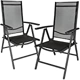 TecTake Aluminium folding garden chairs set adjustable with armrests - different colours and quantities - (Anthracite | 2 chairs | no. 401633)