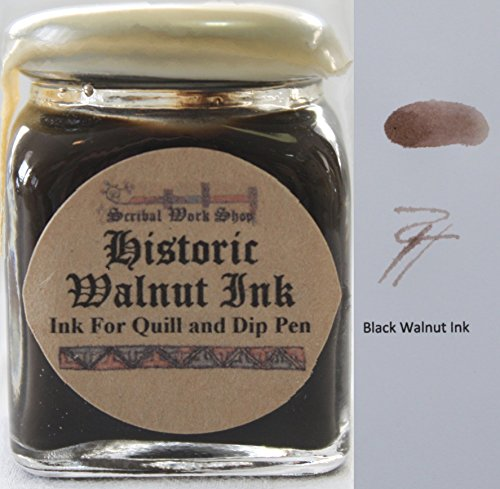 Historic Black Walnut brown ink for dip pens by Scribal Work Shop