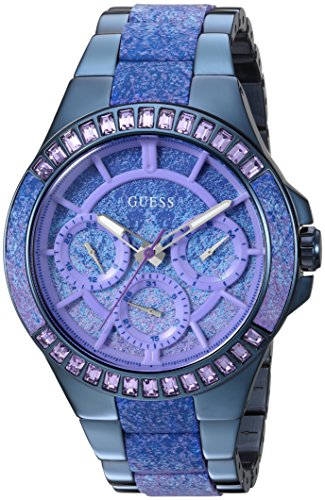 GUESS Women's Quartz Plastic and Stainless Steel Casual Watch, Color:Blue (Model: U0945L3)