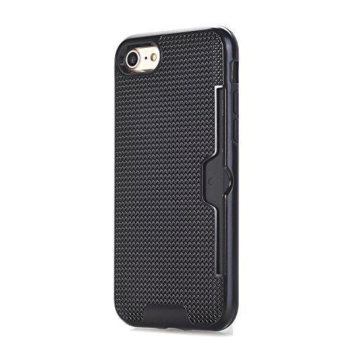 iPhone 7 Case, HLLI Wallet Case  Shockproof Impact Dual Laye
