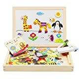 Lewo Wooden Educational Toys Magnetic Double Side Drawing Easel Blackboard Jigsaw Puzzle Games for Kids (Forest)