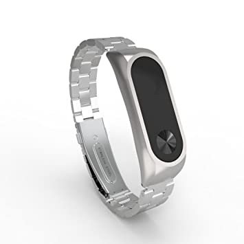 samLIKE Xiaomi Mi Band 2 acero inoxidable lujo Wrist Band metal Ultrathin New Strap, plata