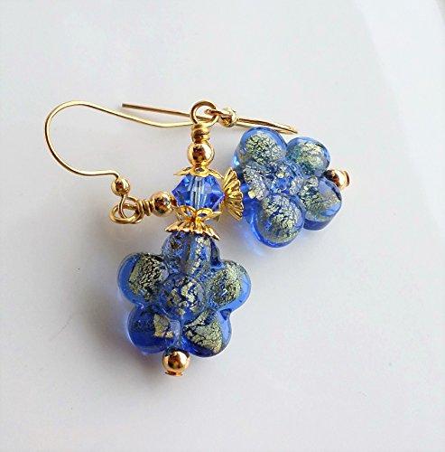 Sapphire Blue Murano Gold Flower Earrings (Sapphire Gold Drop)