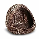 Best Friends by Sheri Kitty Hut Leopard Pet Bed, 13-by-16-by-15-Inches, Leopard Brown, My Pet Supplies