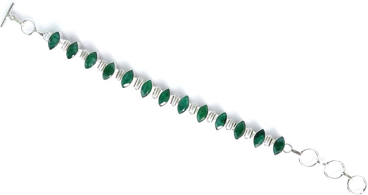 Ley 925 Pulsera de para LA Mujer Amatista la Piedra Preciosa Verde Pulsera Hecha a Mano por TIBETANA
