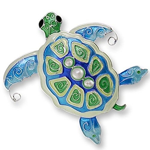 Enameled Silver Pin (Sea Turtle Enameled Silver Plated Pearly Pin)