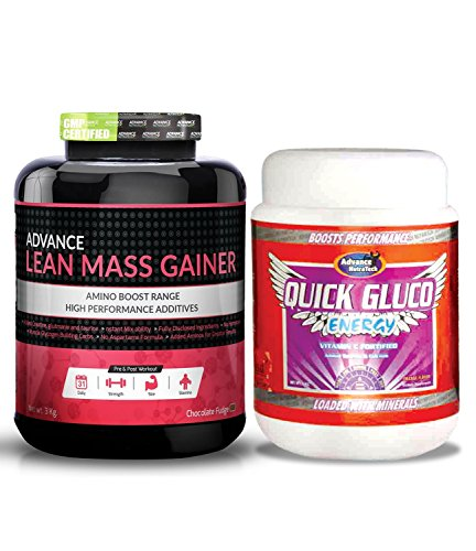 Advance Nutratech Lean Mass Gainer 3Kg (6.6Lbs) Chocolate &Quick Gluco Energy 1kg (2.2LBS) orange