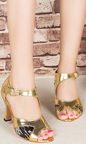 Cfp or Femmes cha Chaussures Talon Tango Danse toe Mode Pu Salsa Partie De Moderne Chaton Peep Latine Cha Des Ur4Uqx8