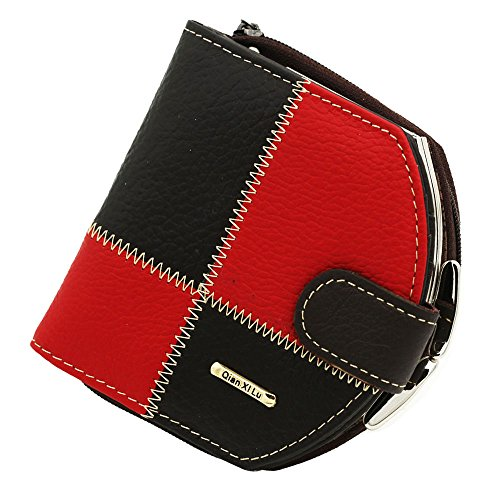 Leather Mini Womens Metal Frame Small Clutch Cards Holder Wallet Purse Red