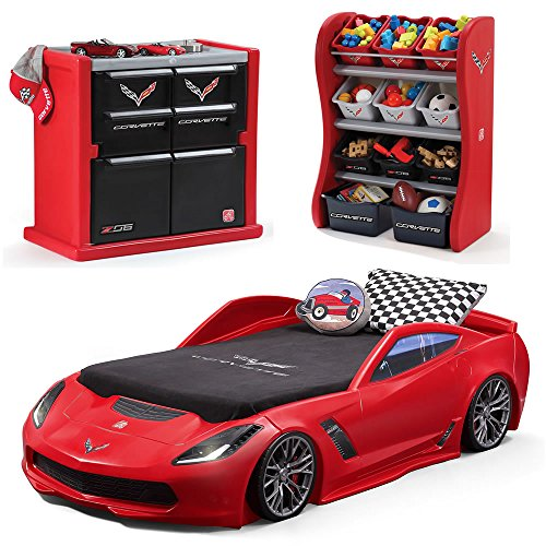 Step2 Corvette Bedroom Combo for Kids - Durable Toddler to Twin Bed, Dresser and Room Organizer for Children Boys ()